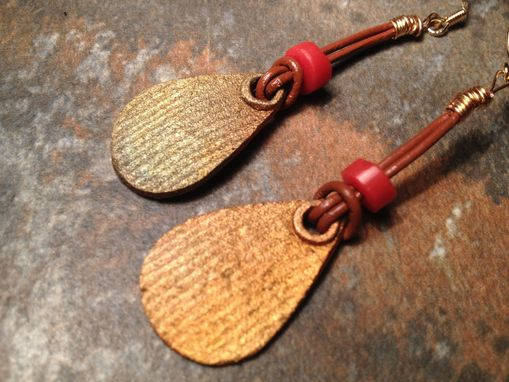 Custom Made Pin Stripe Bronze Leather And Glass Earrings