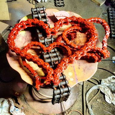 Custom Made Metal Red Heart Sculpture Art Artwork Anniversary Wedding Valentine Gift