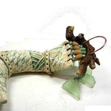 Custom Made Handmade Ceramic Clay Rattle Snake With Found Wood Handle And Bead Adornment