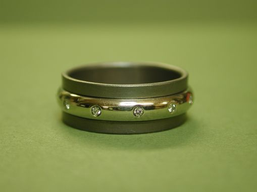 Custom Made Wedding Ring Of Titanium With Gold Spinner And Diamonds