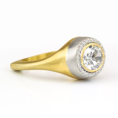 Custom Made Diamond Open Halo Bezel Bi-Color Gold Oval Ring Mounting