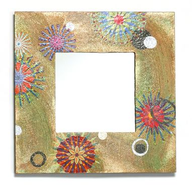 Custom Made Square Peacock Art Mirror With Copper And Gold Background