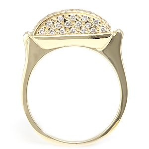 Custom Made Dome Pave Set Diamond Ring In 14k Yellow Gold, Unique Ladies Ring
