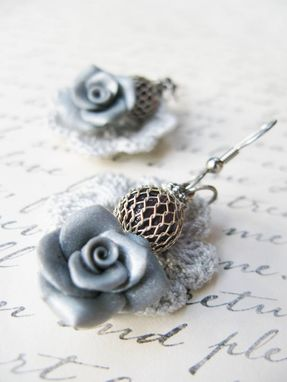 Custom Made Silver - Mini Doilies Lace And Handcrafted Polymer Clay Rose Earrings With Beads