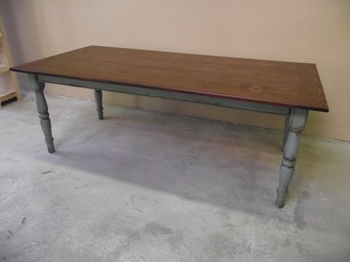 Custom Made Custom Made Farm Style Table, Choices Of Woods, Table Thickness, Length And Legs, Endless Possibilities For Painted Finishes On Legs