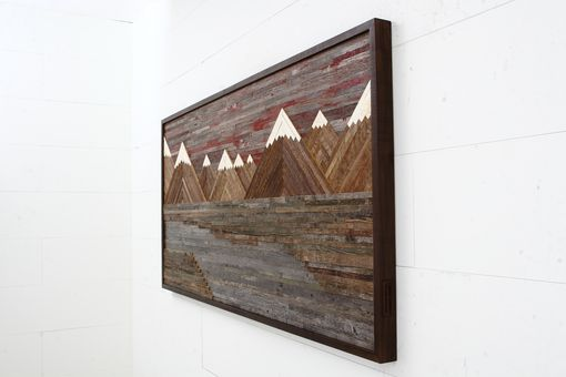 Custom Wood Wall Art Of A Fiery Sunset Mountain Landscape