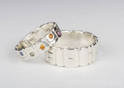 Custom Made Keystone Hand Carved Wedding Band With Gemstones