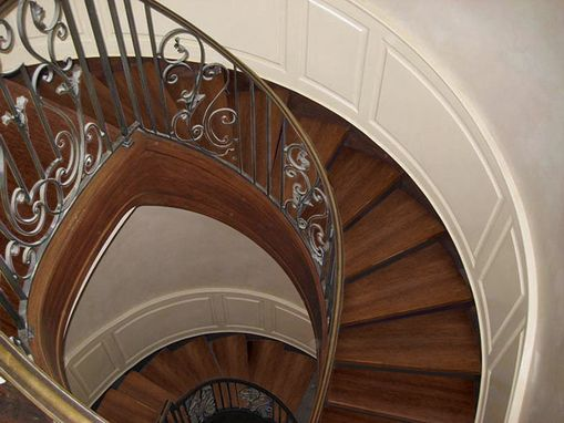 Custom Made Curved Staircase Custom Wainscoting – Oxford Style