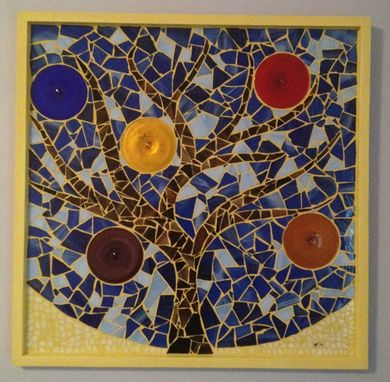Custom Made Wall Decor Tree Mosaic With Colored Rondelles