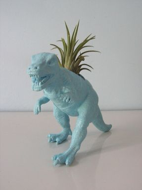 Custom Made Upcycled Dinosaur Planter - Blue Tyrannosaurus Rex With Tillandsia Air Plant