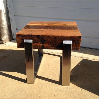 Custom Made Living Room Table Set,  Stainless Steel And 8x8 Beam Coffee Table And End Table