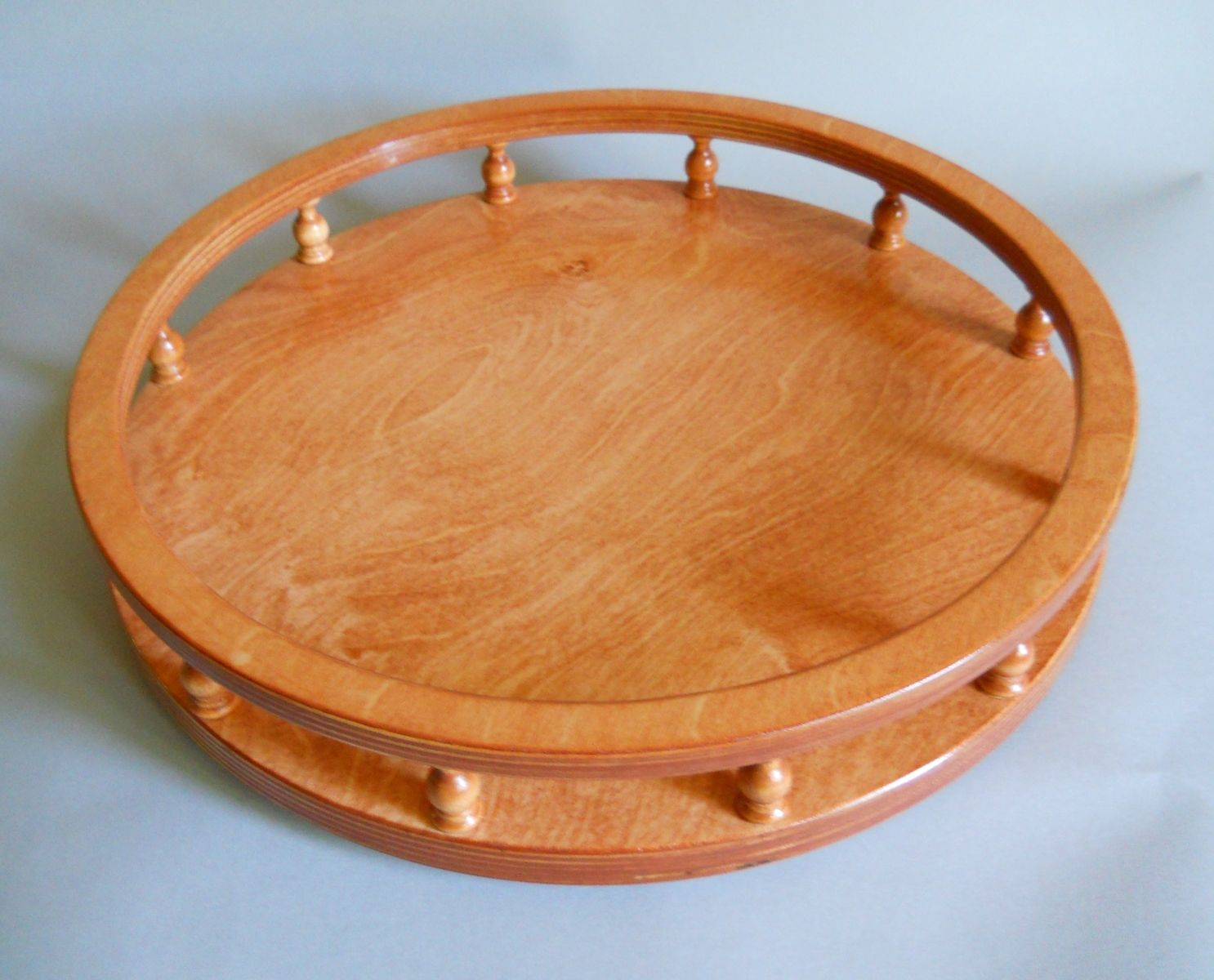 Custom Made Lazy Susan With Finials Tray Counter Or Table Organizer