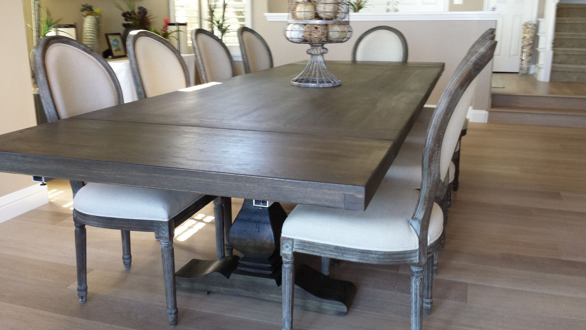 Industrial dining table and chairs - Custom Made Pecan Trestle Dining Table