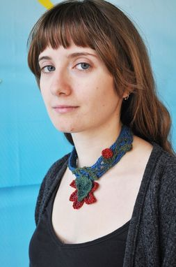 Custom Made Crocheted Hemp Necklace With Freeform Flowers And Vines