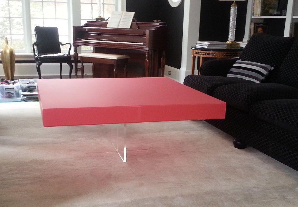 A Hand Made Acrylic Coffee Table X Based With Custom