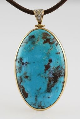 Custom Made Bisbee Turquoise Pendant - Hand Wrought 14k Gold