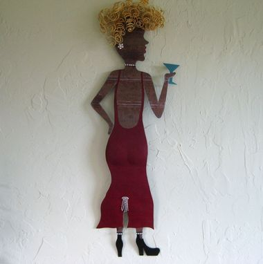 Custom Made Handmade Upcycled Metal Lady Wall Art Sculpture