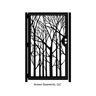Custom Made Decorative Forest Steel Gate - Nature Metal Art - Steel Wall Panel - Garden Gate Art - Custom Gate