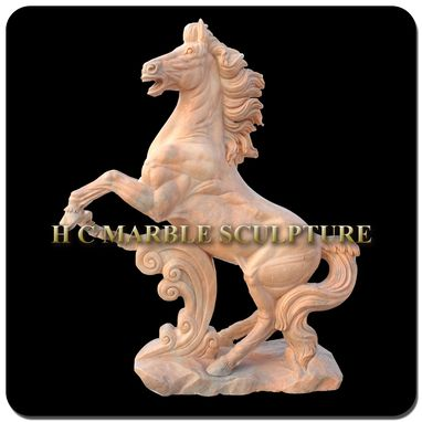 Custom Made Life Size Rearing Horse Sculpture On Base