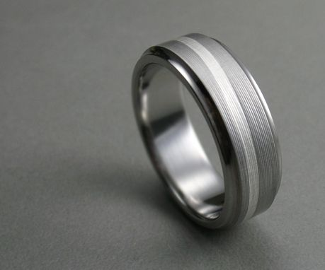 Custom Made Titanium Silver Swirl Men's Wedding Band