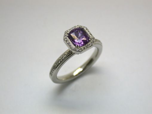 Custom Made Spinel With Diamond Accent Ring