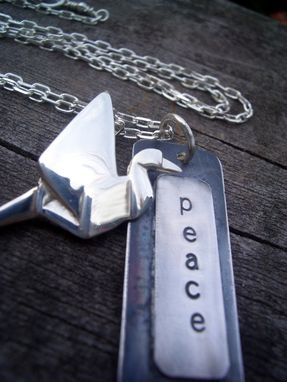 Custom Made Peace Necklace With Origami Crane