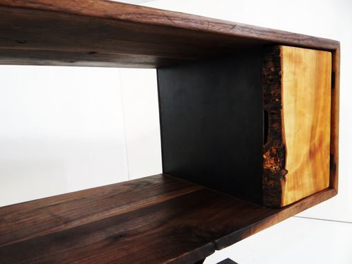 Custom Made Walnut Console Table With Metal I-Beam Base And Live Edge Cherry Doors