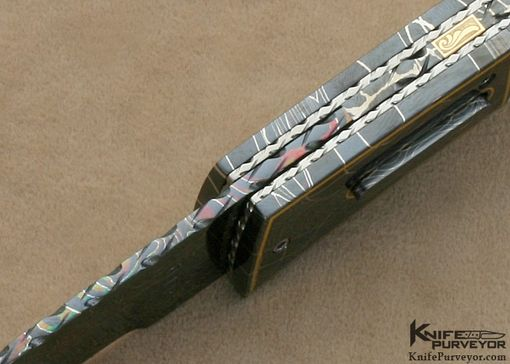 Custom Made Vernie Reed's Custom Knife: Mother Of Pearl And 24kt Gold Braided Wire Automatic Linerlock With Robert Eggerling Damascus