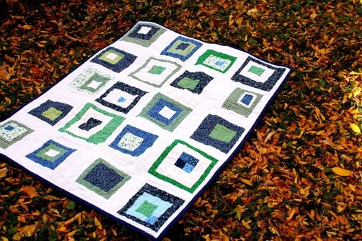 Custom Made Modern Patchwork Baby Quilt - Green, Blue And White