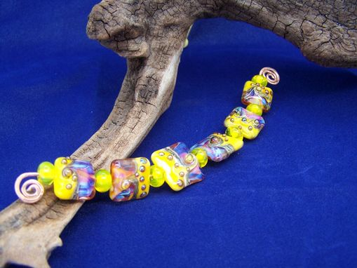 Custom Made Yellow Pink Lady Square Lampwork Glass Beads