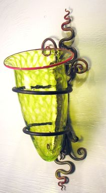 Custom Made Wall Vase In Citron And Coral Red With Sculptural Steel Bracket