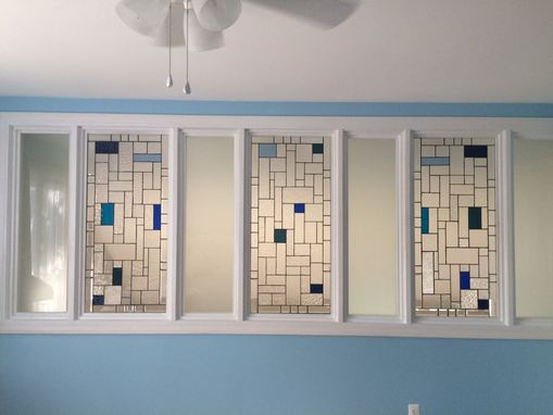 "Custom Made Stained Glass Set Of Windows -  ""Bevels & Clears Ii"" (W-124)"