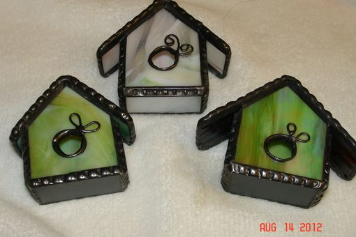 Custom Made Stained Glass Bird House Ornaments