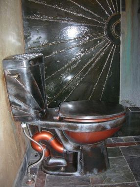 Custom Made Steampunk Meets Monster Garage, Altered Copper And Metal Toilet