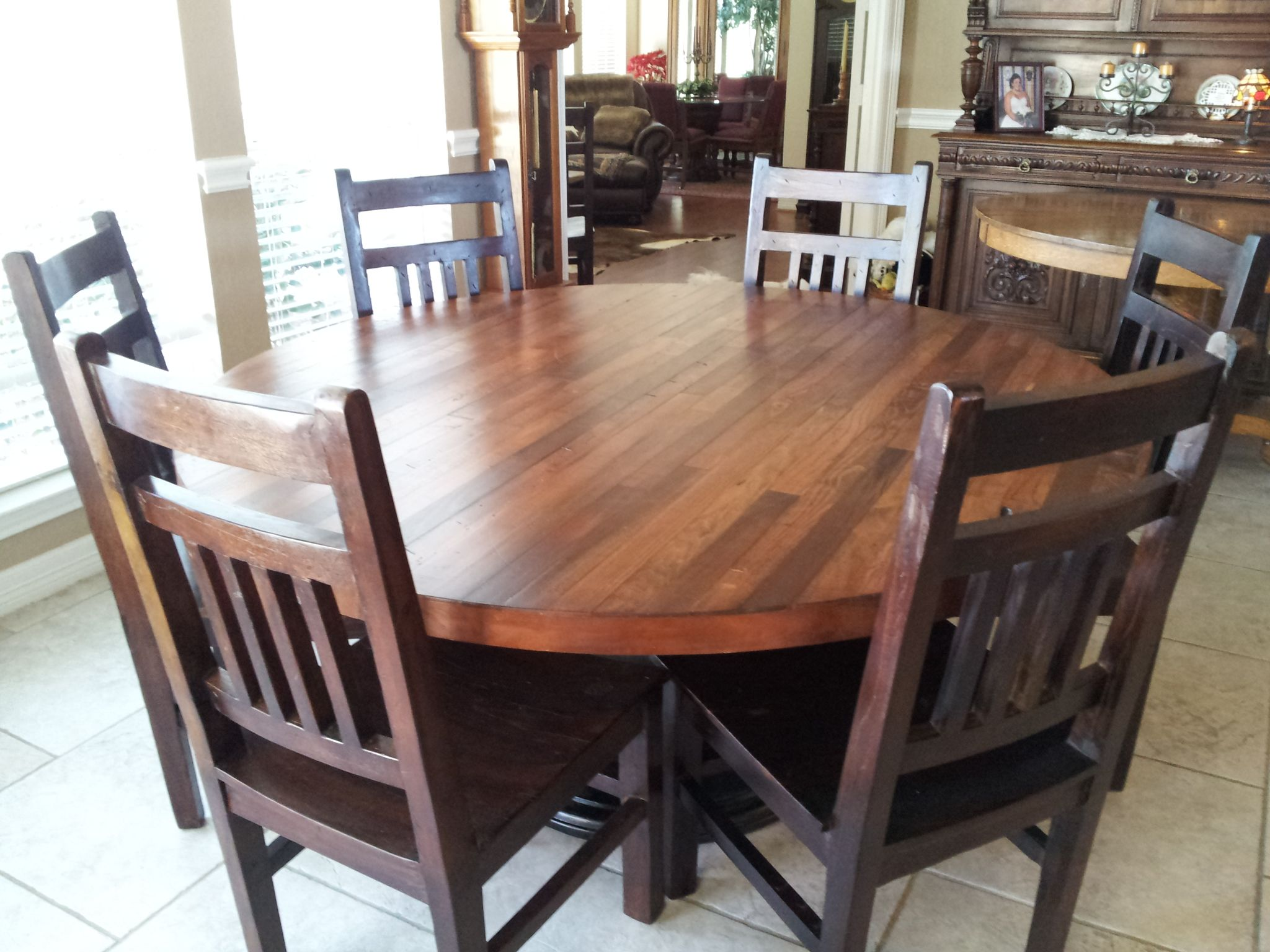 Hand crafted 66 inch plank top dining table