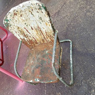 Custom Made Photo Prop 1950'S Childrens Metal Lawn Chair Shabby Industrial Retro