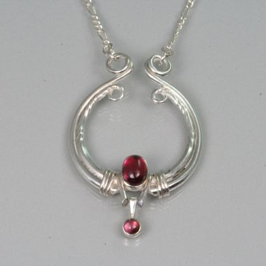 Custom Made Sterling Forged Egyptian Inspired Garnet Necklace