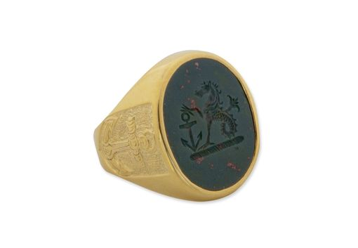 Custom Made Mens Bloodstone Engraved Signet Rings