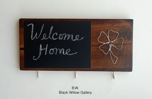 Custom Made Wired Irish Clover Wood Key Rack