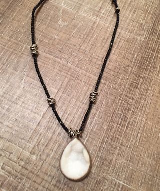 Custom Made Black Spinel Necklace With Quartz Druze Pendant