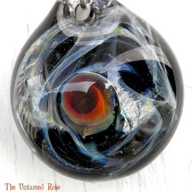 Custom Made Hand Blown Glass Pendant Starry Night Sra Milky Way With Planet Sra Untamed Rose Silver