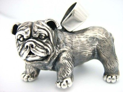 Custom Made Silver English Bull Dog Bulldog Pendant