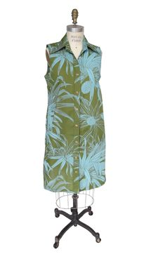Custom Made Hawaiian Button Front (Tunic) Dress With Pineapple Print - Green With Turquoise Print