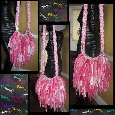 Custom Made Pink Fringe Handbag, Upcycled Fringe Handbag,Custom Made, One Of A Kind, Hippie,Boho,Funky,Purse