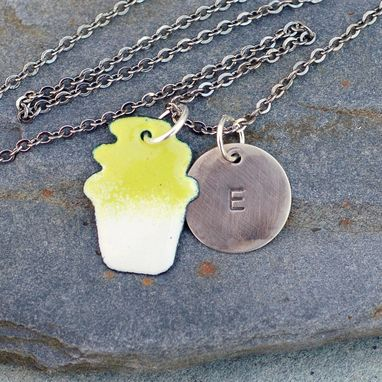 Custom Made Enamel Cupcake Necklace Pendant Custom Handstamped Initial Enameled Jewelry Yellow Green