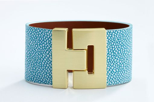 Custom Made Genuine Leather Luxury Bracelet In Mosaique Blue Stingray Pattern