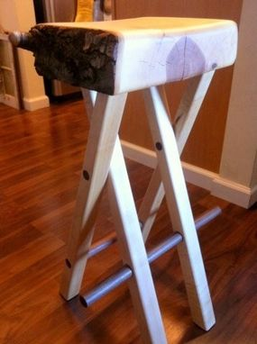 Custom Made Birch, Maple, And Walnut Bar Stool