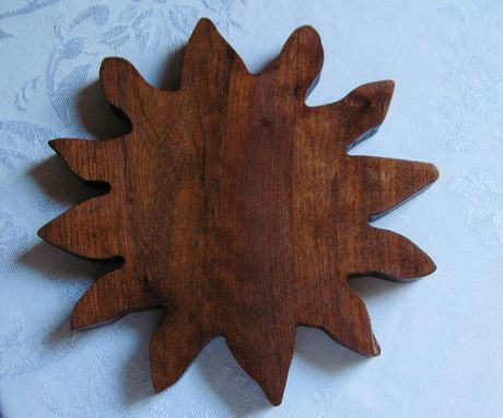 Custom Made Handcrafted Tribal Sun Face Carved Walnut Wood Trivet