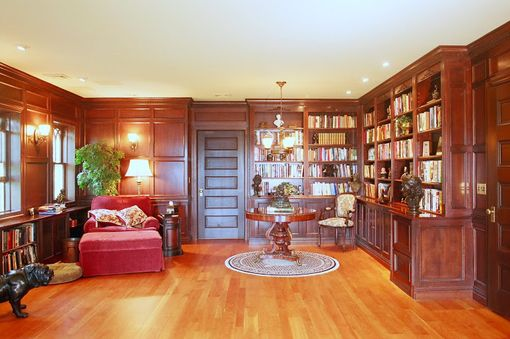 Custom Made Custom Cherry Library Cabinetry