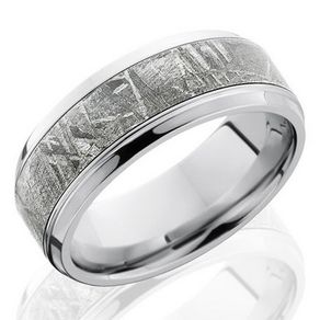 meteorite and cobalt chrome band by serge depoyan - Meteorite Wedding Rings